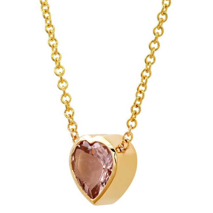 14K YG Morganite Heart Gypsy Necklace
