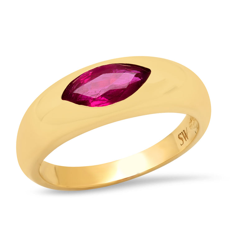 14K YG Ruby Gypsy Ring