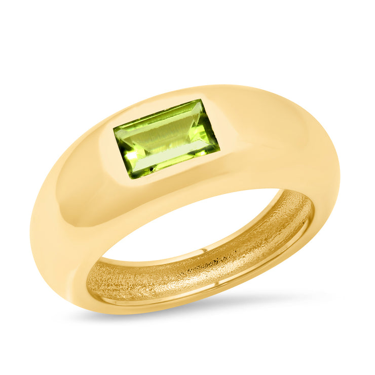 14K YG Peridot Gypsy Ring