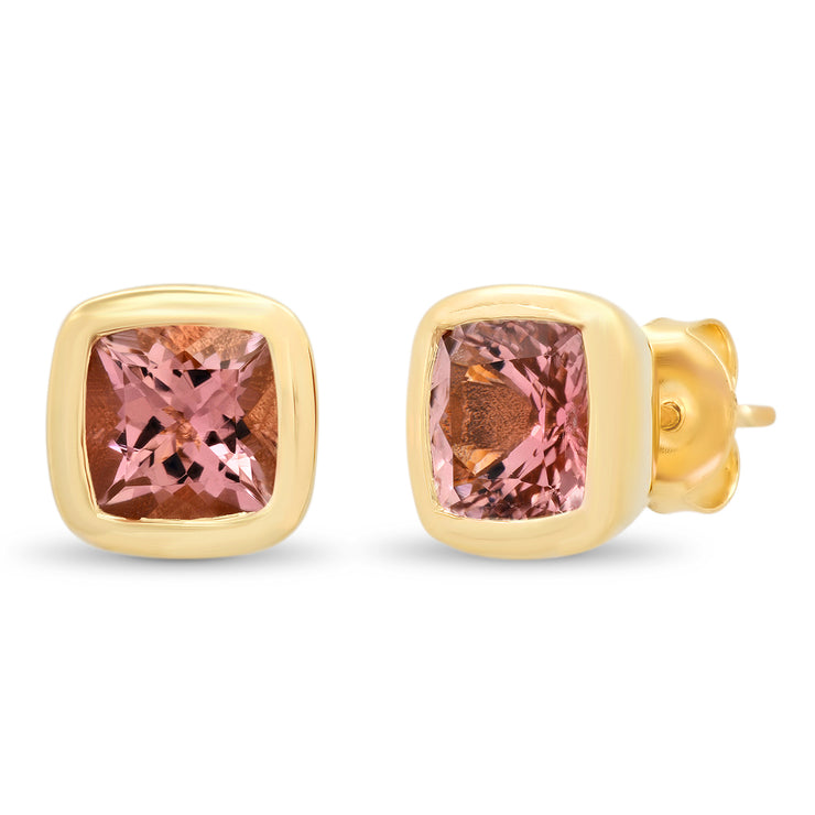 14K YG Pink Tourmaline Gypsy Earrings