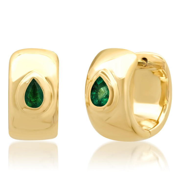 14K YG Emerald Pear Shaped Gypsy Earrings