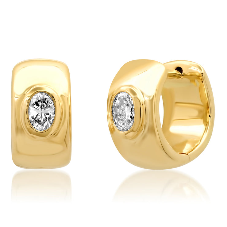 14K YG Oval Shaped Diamond Gypsy Earrings