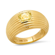 14K YG Radiant Cut Yellow Diamond Gypsy Ring
