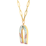 14K YG Opal and Pink Opal Inlay Manifest Necklace