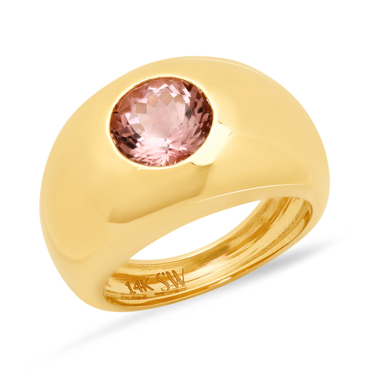 14K YG Pink Tourmaline Gypsy Ring