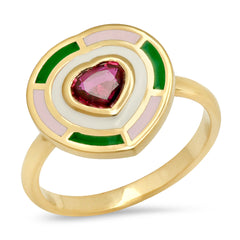 18K YG Fontaine Ruby Heart Enamel Ring