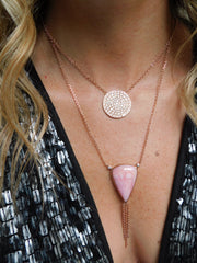 14K RG Pink Opal Tassel Diamond Necklace