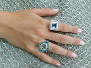 18K Grace Aquamarine Enamel Ring