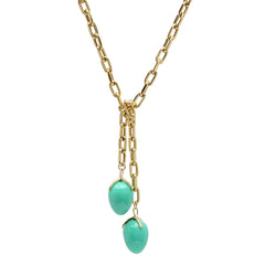 18K YG Chrysoprase Wrap Tie Diamond Claw Lariat