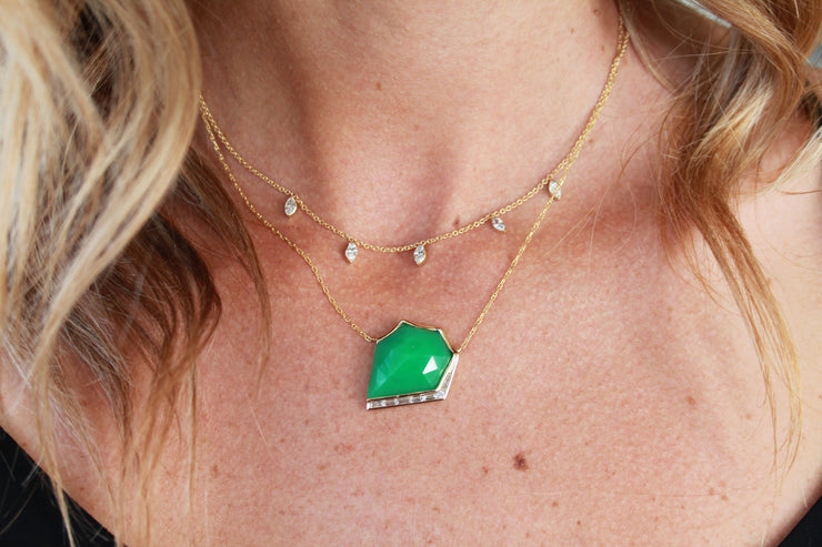 14K YG Chrysoprase and Diamond Baguette Necklace
