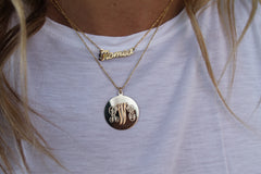 14K YG Monogram Disk Charm Necklace