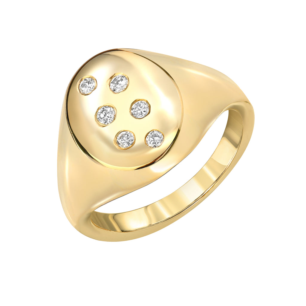 14K Starburst Diamond Signet Ring