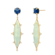 14K YG Kyanite and Aquamarine Diamond Earrings
