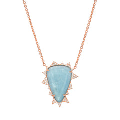 14K RG Aquamarine Diamond Necklace