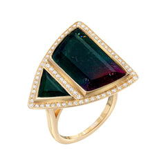 14K YG Bicolor Tourmaline Diamond Ring