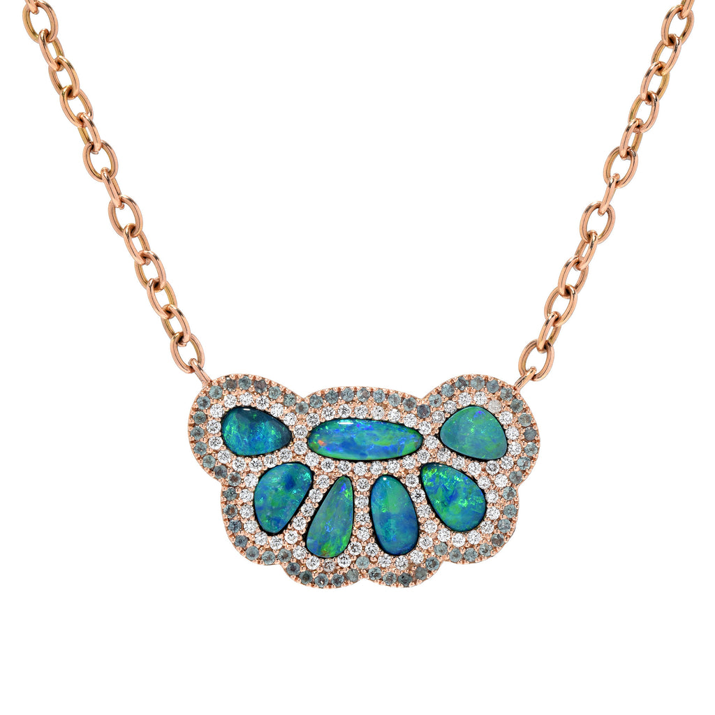 14K RG Opal, Alexandrite and Diamond Paw Necklace