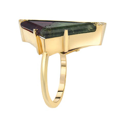 14K YG Watermelon Tourmaline and diamond Baguette ring