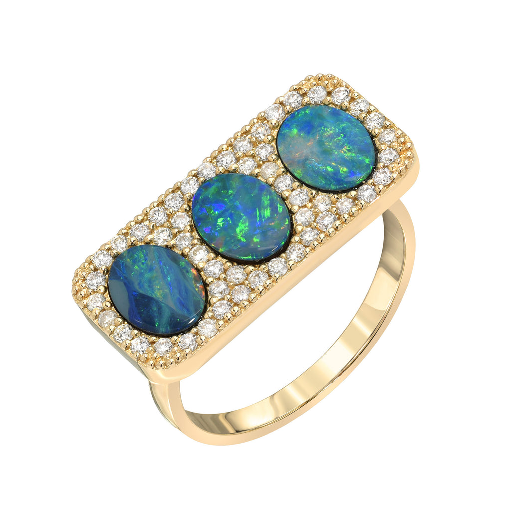 14K Triple Opal Bar Diamond Ring