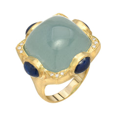 14K YG Aquamarine and Sapphire Diamond Ring
