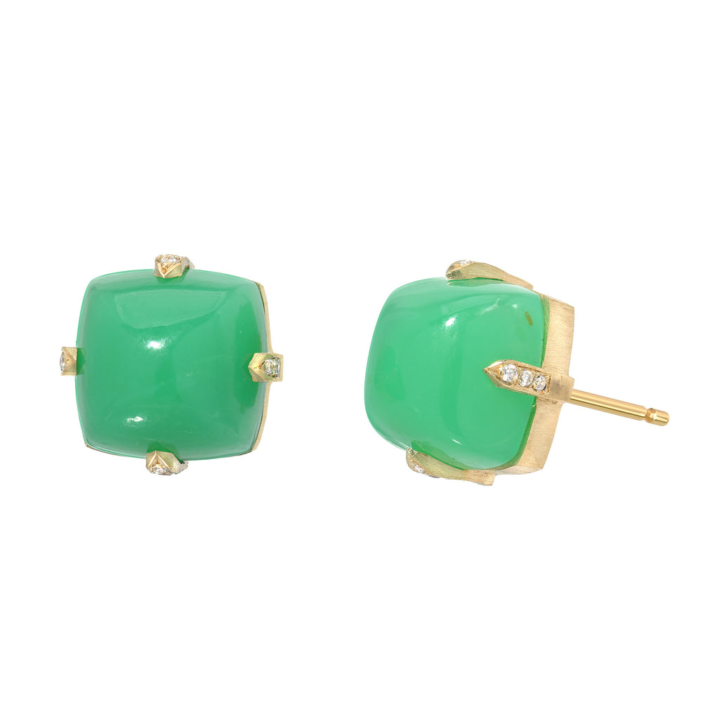 14K YG Chrysoprase diamond Studs