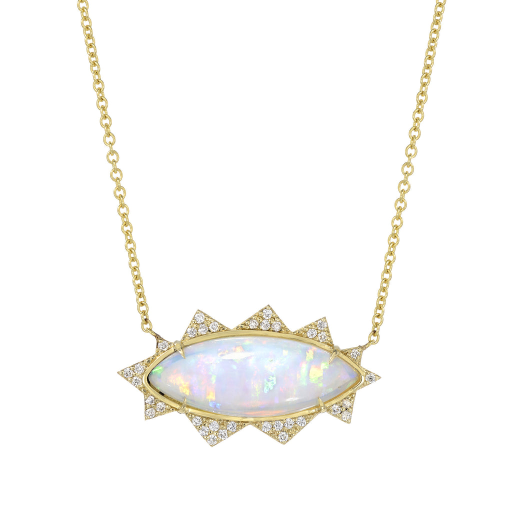 14K Yellow Gold Ethiopian Opal Diamond Necklace
