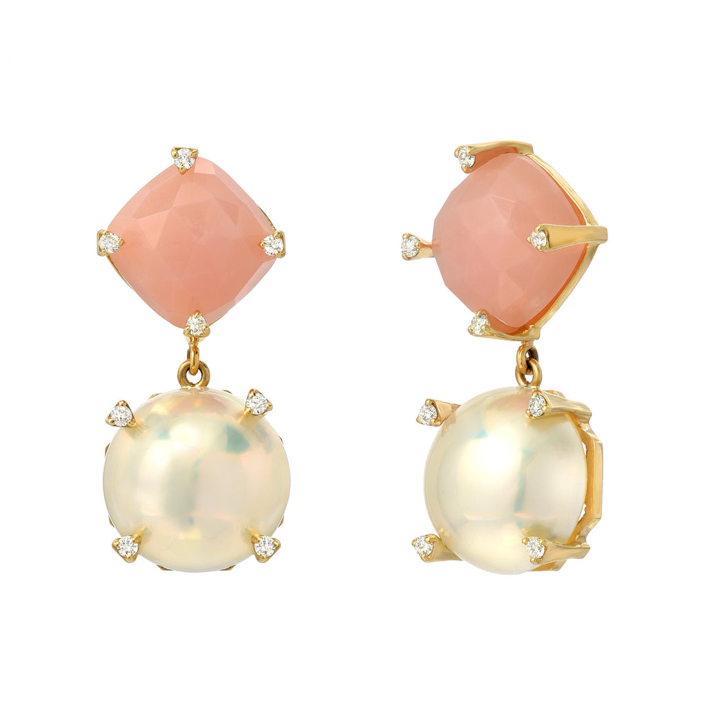 14K YG Mabe Pearl and Pink Opal Diamond Earrings