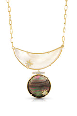 18K Full Moon Diamond Baguette Bib Necklace
