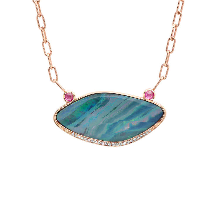 14K RG Opal and Pink Sapphire Diamond necklace