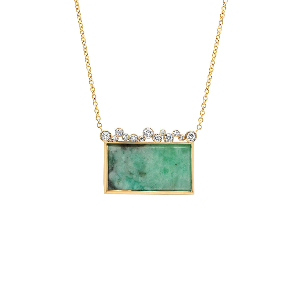 14K YG Emerald Diamond Necklace