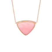 14K RG Pink Opal Diamond Necklace