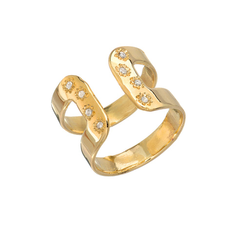 14K Bracket Diamond Ring