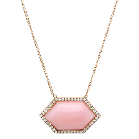 18K YG Pink Opal Hexa Diamond Necklace