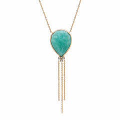 14K YG Amazonite Diamond Tassel Necklace