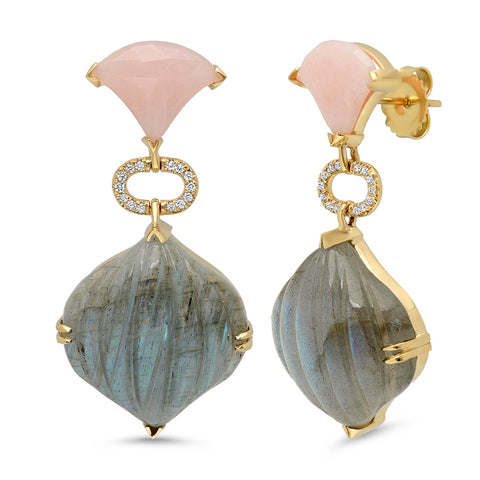18K YG Carved Labradorite and Pink Opal Diamond Earrings