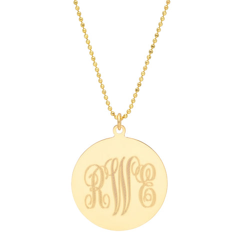 14k YG Monogram Disc Necklace