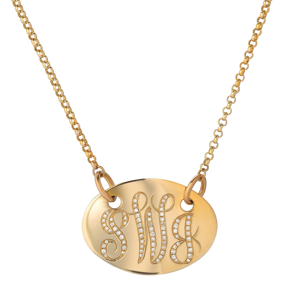 Monogram plate diamond necklace