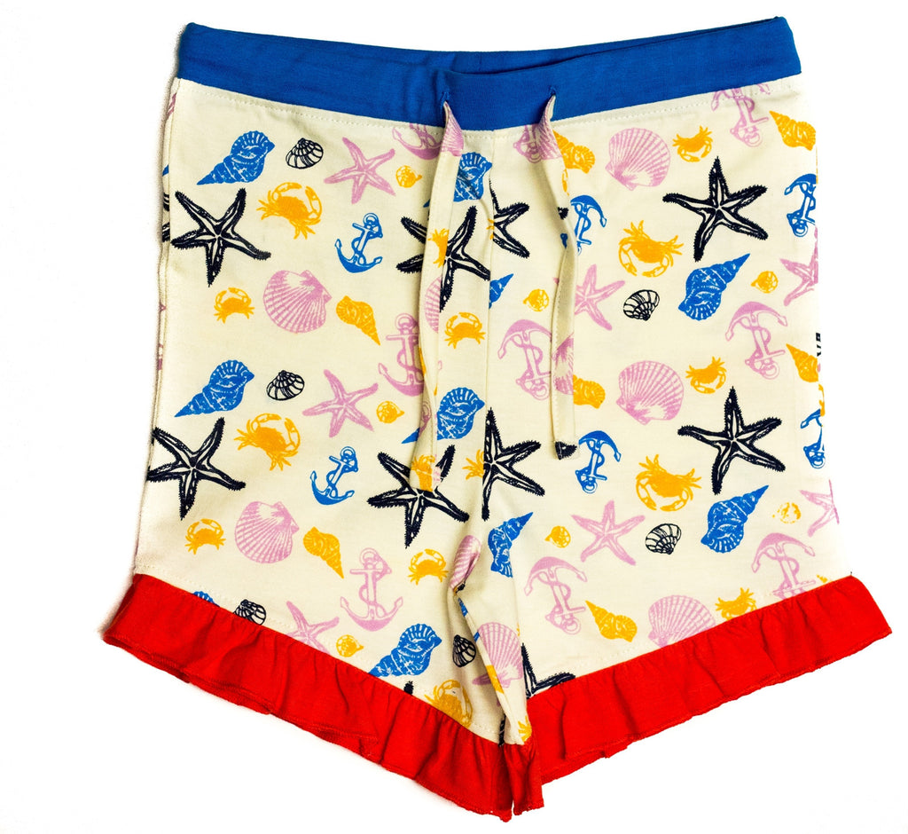 Organic Nautical Print Board Shorts w/ Ruffle Hem -