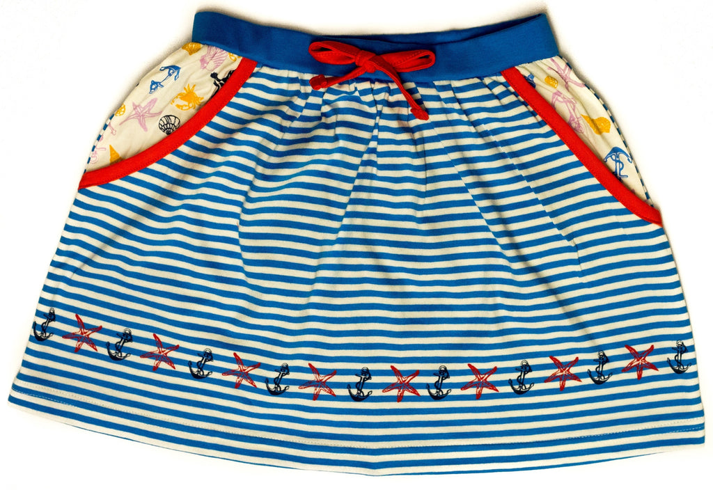 Organic Nautical Waisted Case Skirt w/ Pockets -