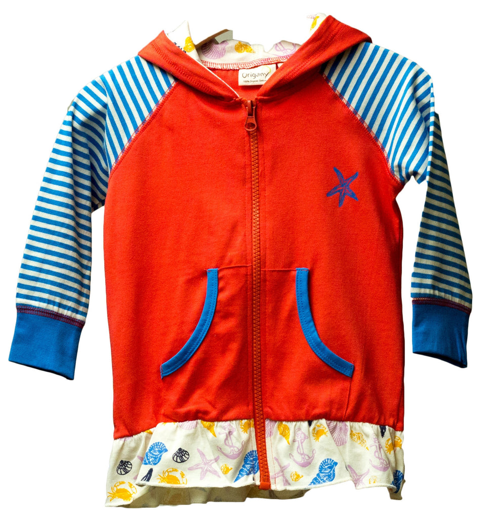 Organic Nautical Red Zip Up Jacket -