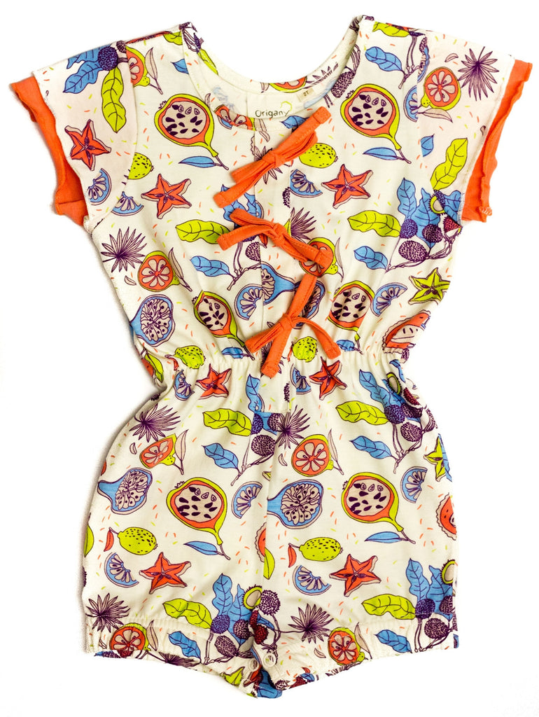 Organic Tropical Fruit Print Elastic Waist Jumpsuit -