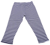 Navy White Striped Leggings