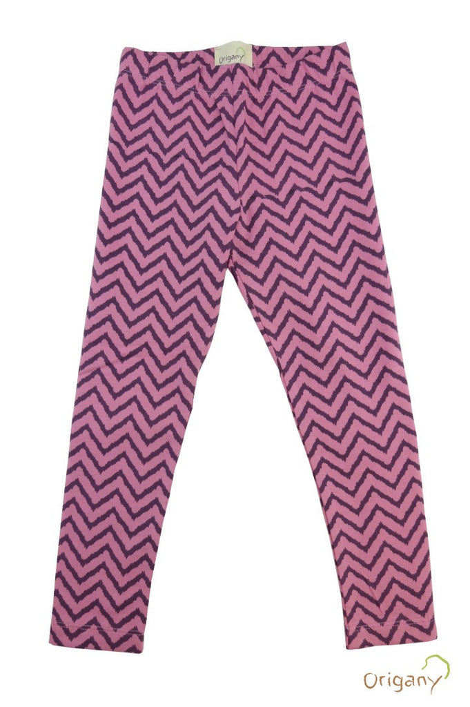 Organic Batik Purple Chevron Leggings -