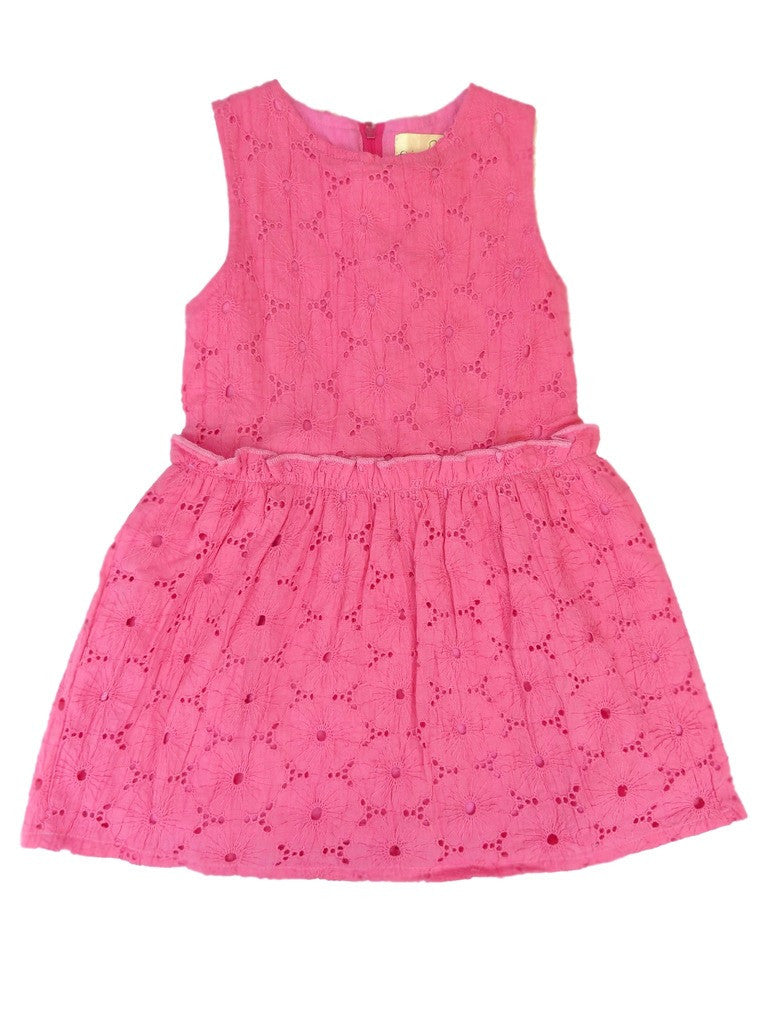 Organic Honeysuckle Pink Woven Eyelet Dress -