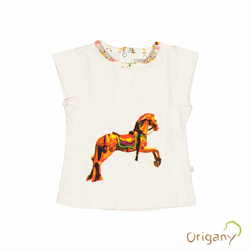 Organic Merry Go Round Placement Print Top -