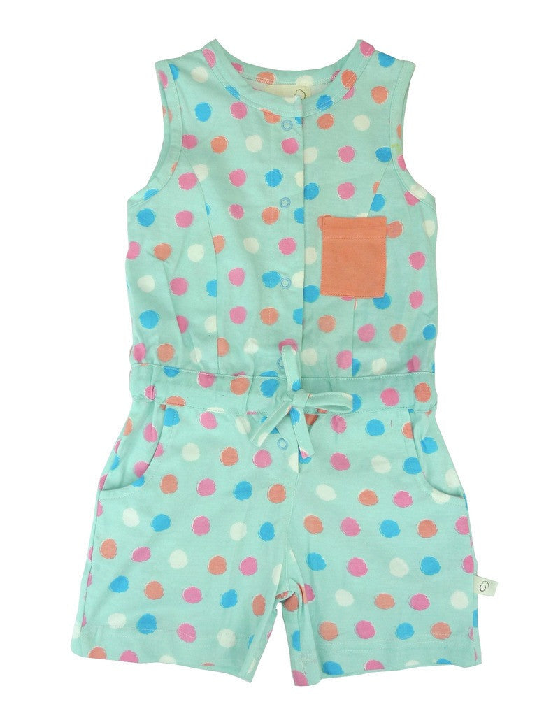 Organic Dot Print Short Jumpsuit -