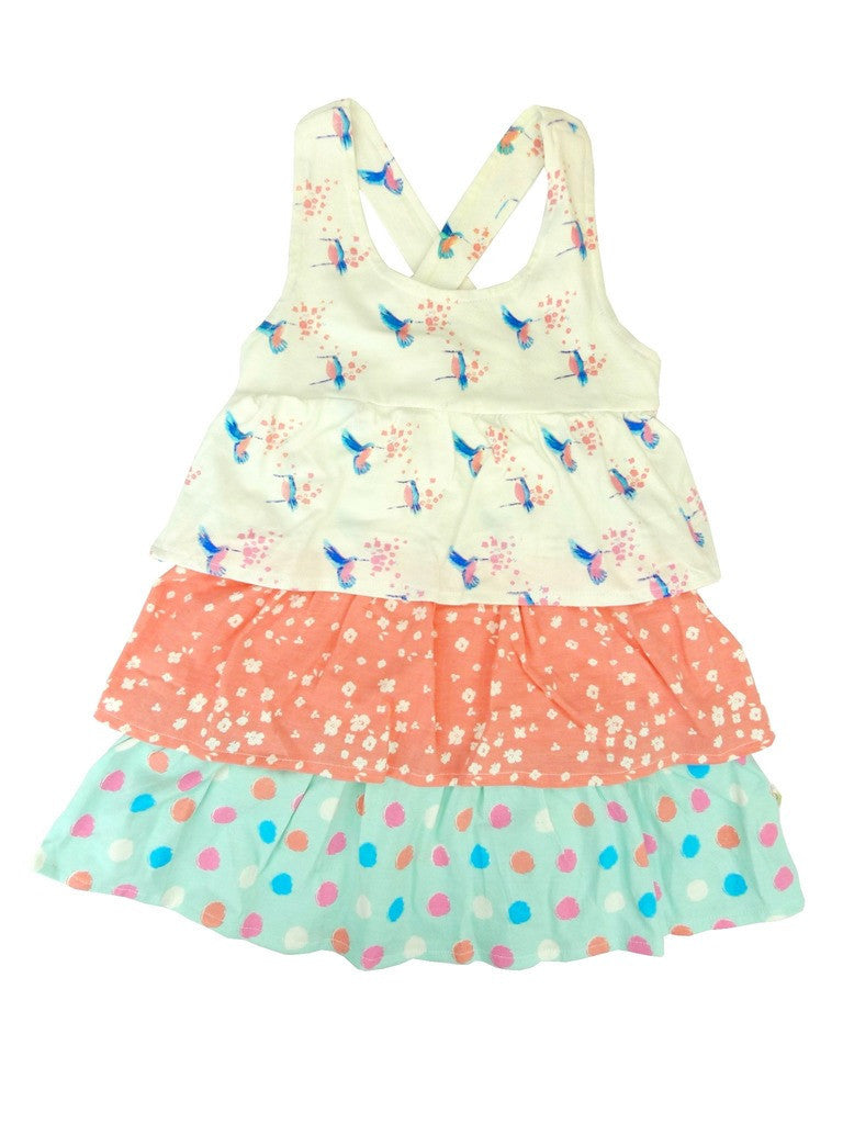 Organic Hummingbird Print Frills Dress -
