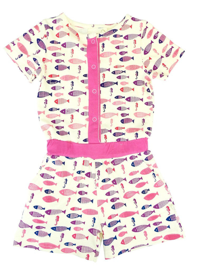 Organic Nautical Fish Short Jumpsuit -