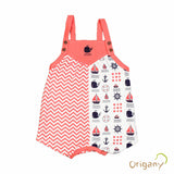 Organic Nautical All Over Print Short Baby Romper -