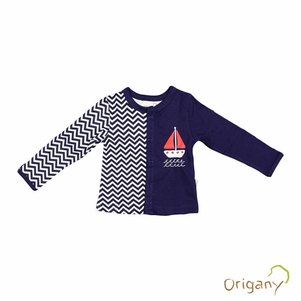 Organic Nautical Boat Placement Print Baby Top -