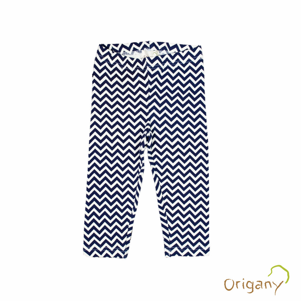 Organic Nautical Blue Chevron Capri Leggings -